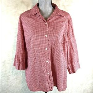 Style & Co. Button Down Gingham Shirt 3/4 Sleeve
